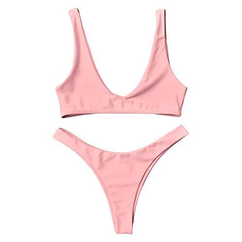 High-cut-tanga (ZAFUL Damen 2pcs Bikini Set Sexy High Cut Tanga S)