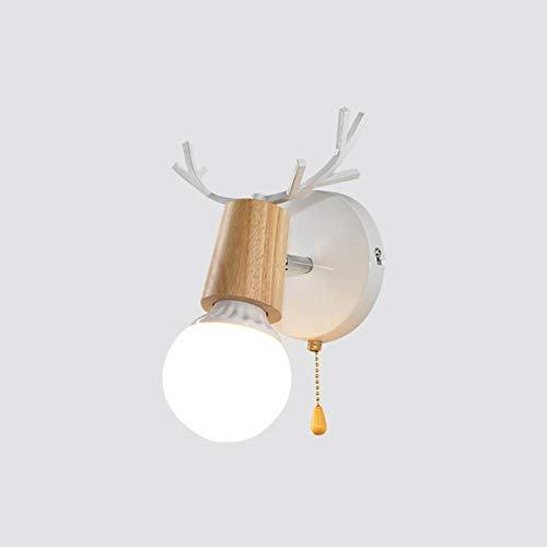 Hirschkopf Wandleuchte LED einfache moderne minimalistische Holz Wohnzimmer Dekoration Lichter Gang Balkon Lampen Wandbeleuchtung E27 (Farbe : Weiß) -