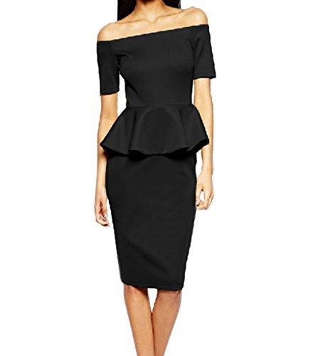 Damen Mode Pakethüften Kleid Reizvolle Tube Pullikleid Volant ...