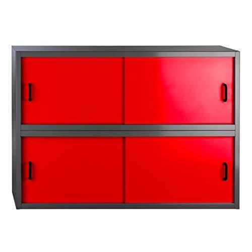 Stahlblech-Wand-Hängeschrank mit 4 Schiebetüren, BxTxH: 915x300x645 mm, Anthrazitgrau/Rot