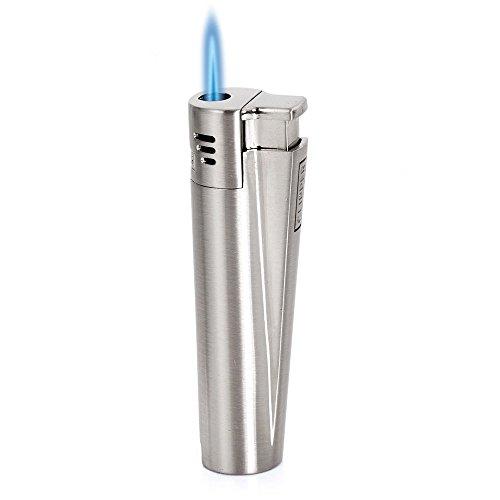 Clipper Feuerzeug mit Jetflamme, Butangas-Feuerzeug, Metall, silber