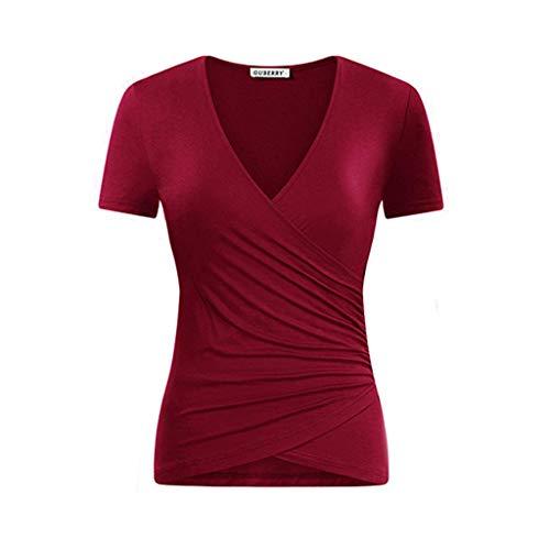 Zegeey Damen T-Shirt GroßE GrößEn Einfarbig V-Ausschnitt Kurzarm Geraffte Top Bluse Oberteil Tops Shirts Schicker Elegant LäSsige Lose(W4-rot,EU-48/CN-2XL)