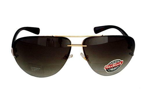 Foster Grant TRUST FG78 Unisex Aviator Wrap Style Sonnenbrille Gold Metall Rahmen & Braun Kunststoff Arms Braun Gradient Rimless Linsen 100% UV Schutz CAT 3 (Grant Aviator Sonnenbrille Foster)