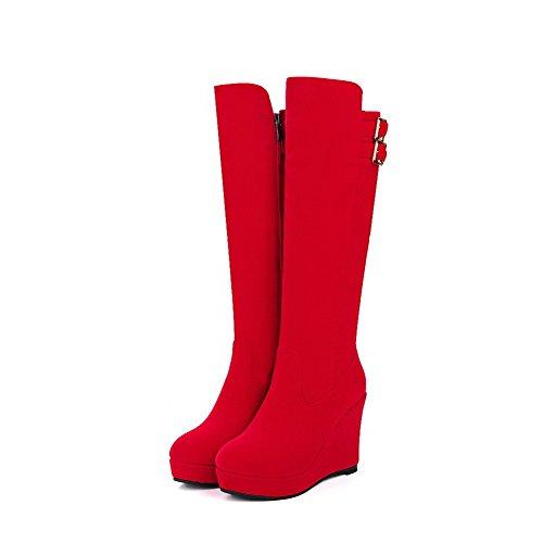 AgooLar Damen Reißverschluss Hoher Absatz Knoten Hoch-Spitze Stiefel, Rot, 38