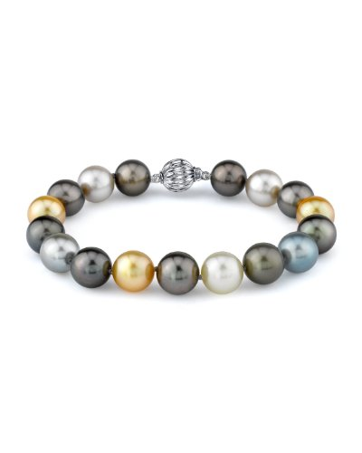 11-12mm Tahitian & Golden South Sea Cultured Pearl Bracelet in 14K Gold