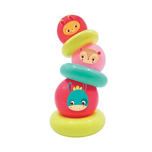 Unbekannt Ludi Pyramide rosa Spielzeug   Stapelspiel aus weichem Kunststoff   Erlernen von Größen und Größen   Feinmotorik   Pflegeleicht   ab 10 Monaten, 30003, Weiß -