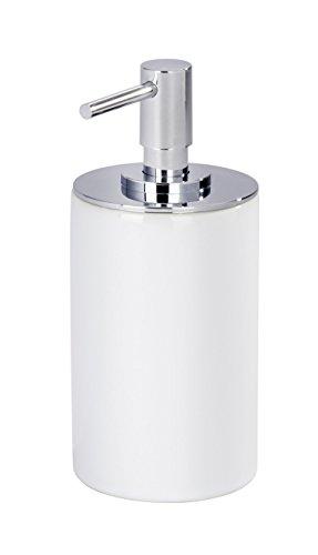 WENKO 21651100 Seifenspender Polaris Neo White - Flüssigseifen-Spender, Fassungsvermögen 0.250 L, Keramik, 8.5 x 16 x 7.2 cm, Weiß