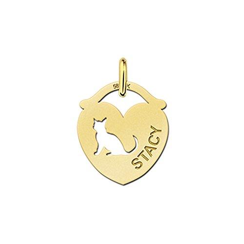 Namesforever Venezianerkette mit Anhänger in Herzform mit ausgestanztem Motiv Katze und gravierten Namen Ihrer Wahl aus Gold
