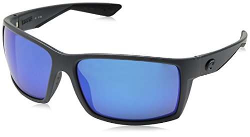 Costa Del Mar Reefton Matte Grau Rahmen Blau Spiegel 580P Kunststoff Linse Rechteckige Sonnenbrille