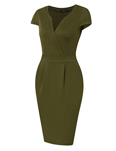KoJooin Damen Elegant Etuikleider Langarm Knielang Business Kleider Armee grün Kurzarm