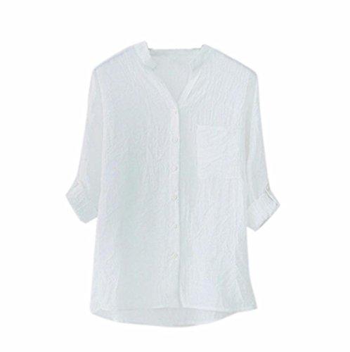 ESAILQ Damen Casual Einfarbig Oberteil Bluse Sommer(L,Weiß) (Der Weiße Country-rocker)