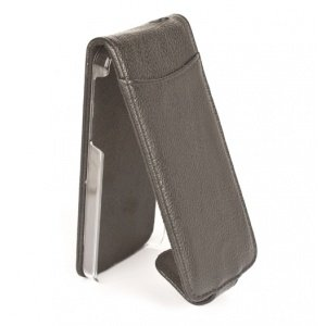 Orbyx Black/ Black Grainy Faux Leather Flip Case for Apple iPhone 5