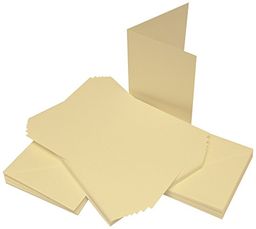Crafts UK 50Karten und Umschläge, Weiß, 10,1 x 10,1 cm, Karton, elfenbeinfarben, 9 mm