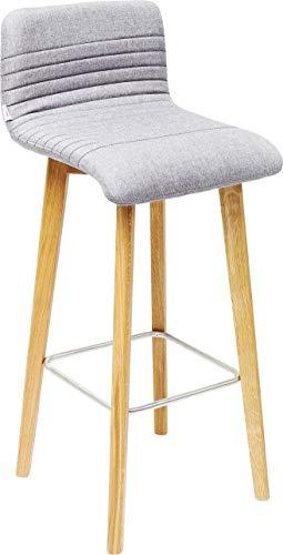 Kare Design Barhocker Lara, Barstuhl in modernem Design, gepolsterter Massivholzstuhl, Grau-Meliert (H/B/T) 98x42,5x46cm