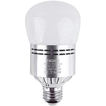 Bombillas Sensor Crepuscular, E27 Sensor de Luz LED 15W Blanco Fría 6000K Anochecer Hasta el Amanecer Sensor Interruptor Bombillas Para el Porche Cochera ...