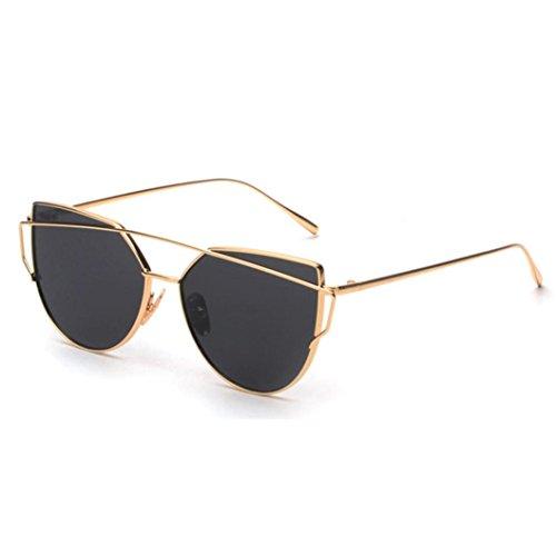 Fashion Sonnenbrille FORH Unisex Damen Herren Klassische Metallrahmen Sonnenbrille Vintage Katzenauge Spiegel Sommer StrandBrille Gleitsicht sonnenbrille Eye Glasses (Gold)