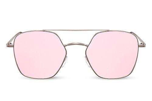 Cheapass Sonnenbrille Rosé-Gold Pink Real-Revo Verspiegelt-e Linsen UV-400 Groß-e Brille Metall Damen Frauen