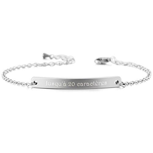 MeMeDIY Acier Inoxydable Bracelet Lien Réglable – Gravure personnalisée
