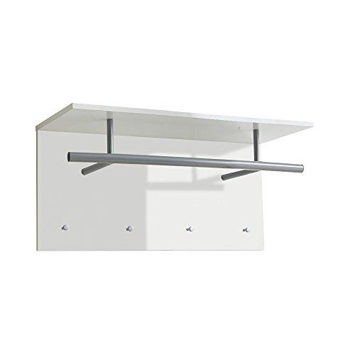 FMD Möbel Spot Up Wandgarderobe, Holz, hochglanz weiß, 72 x 29.5 x 35 cm -