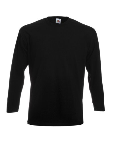 Fruit Of The Loom Herren Super Premium Langarm T-Shirt (L) (Schwarz)