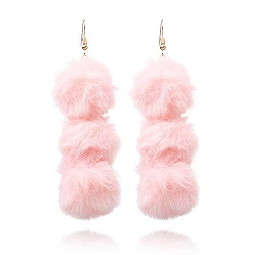 YUHUS Home Mode Lange Haare Ball mehrschichtige Ohrringe Star Street Beat Quaste Ohrringe, Hellrosa -