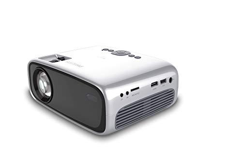 Philips NeoPix Easy (NPX440), transportabler Mini-Projektor, 1080p, 2.600 LED-Lumen, 80 Zoll Projektionsfläche, integrierter Mediaplayer, HDMI, USB, microSD, 3,5-mm-Audioausgangsbuchse für Kopfhörer