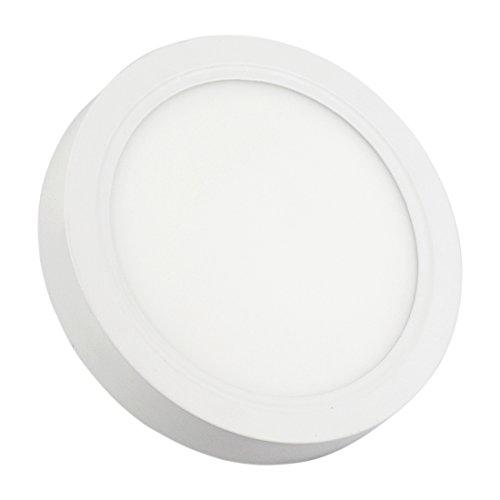 IberiaLux LED downlight de superficie, LED plafón de superficie, Redondo Blanco 18W 6000K, 4000K, 3000K (Luz cálida 3000K)