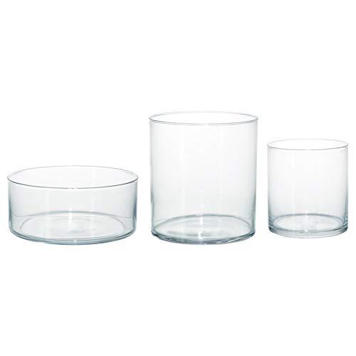 IKEA ASIA - Juego 3 jarrones cilíndricos Cristal