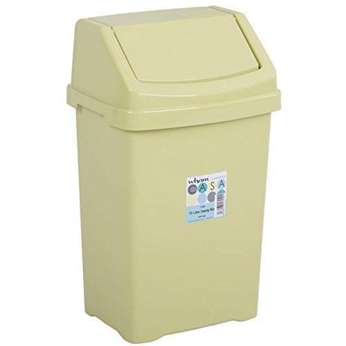 15 Liter Mülleimer mit Schwingdeckel rechteckig robust 29x23x47 cm in Pastell-Limette • Abfalleimer Eimer Papierkorb Abfallsammler