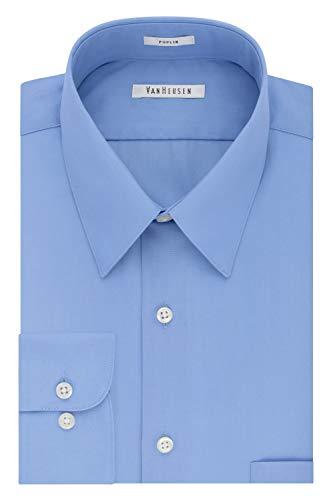 Van Heusen Men's Poplin Regular Fit Solid Point Collar Dress Shirt, Cameo Blue, 15