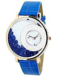 Blue Stylish Free Diamond Dial Fancy Leather Watch For Girls And Women
