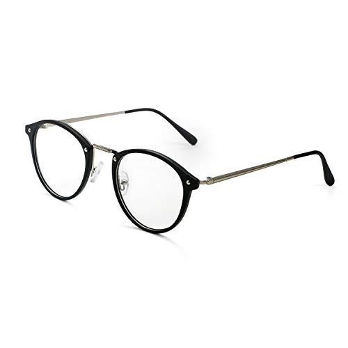 Aroncent Brillengestell für Damen mit transparenten Brillengläsern, sehr leicht, Farbe wählbar Schwarz