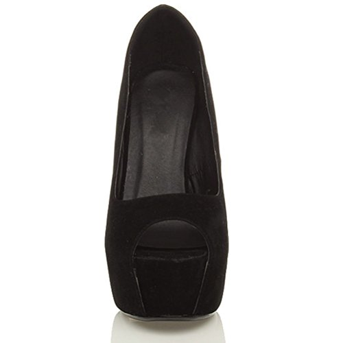 Damen Hoher Absatz Peep Toe Klassisch Party Grund Elegant Plateauschuhe Pumps Sandalen Größe schwarze Velourslederoptik