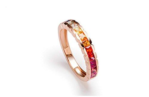 AMDXD Ring Damen Gold 18K 1.25ct Quadrat Ribin Saphir Regenbogen Edelstein Ehering 750 Größe 50 (15.9)