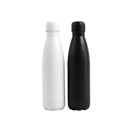 Bottle schwarz by LAB / 500ml Wasserflasche doppelwandig, vakuumisoliert aus hochwertigem Edelstahl / Premium Thermosflasche / Top Trinkflasche für Büro (Designagentur), Fitness (Yoga) & Cold Brew (Hipster)