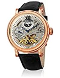 Akribos XXIV Men's Quartz Stainless Steel and Leather Casual Watch, Color Black (Model: AK968RGBK)