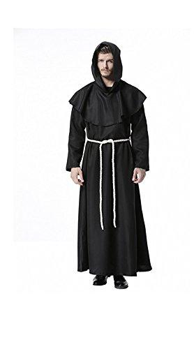 Renaissance Kostüm Reenactment - Priester Robe Mönch Mittelalterliche Kapuze Kapuzenmönch Renaissance Robe Kostüm (Schwarz) (Large)