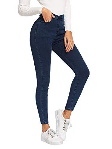 DIDK Damen Crop Skinny Jeanshose Schmal Casual Hosen Hohe Taille Pants Denim Jeans Einfarbig Basic Hose Marineblau S -