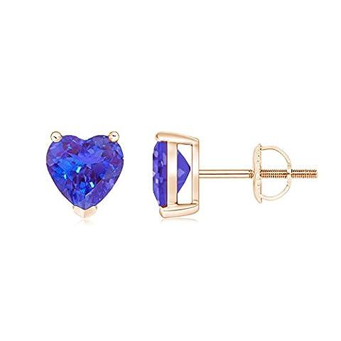 Three Prong-Set Solitaire Tanzanite Heart Stud Earrings in 14K Rose Gold (6mm Tanzanite)