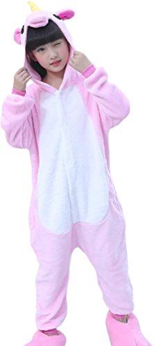OLIPHEE Mädchen Schlafanzug Einhorn Jumpsuit Cartoon Kostüm Jungen Kinder Overall Onesie Pyjamas Pink 125
