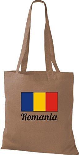 ShirtInStyle Stoffbeutel Baumwolltasche Länderjute Romania Rumänien Farbe Navy hellbraun