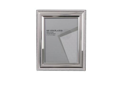 Evergreen - cornice portafoto placcata in argento antiossidante, decoro sul bordo a perline, 15 x 20 cm, colore: argento