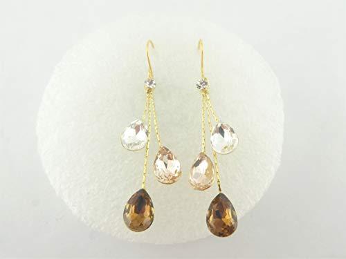 Ohrringe gold Tropfen Kristall-Champagner-Braun Edelstahl Ohrhaken