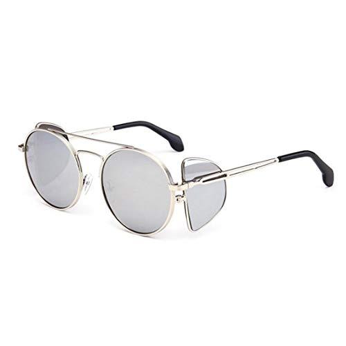 Yiph-Sunglass Sonnenbrillen Mode Runde Klassische Unisex-Sonnenbrille UV-Schutz Sonnenbrille for Frauen Metallrahmen umrandeten Sonnenbrille (Farbe : Silver Frame White Mercury)