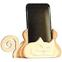 Handyhalter Holz Handarbeit Handyständer Smartphone Holzkunst