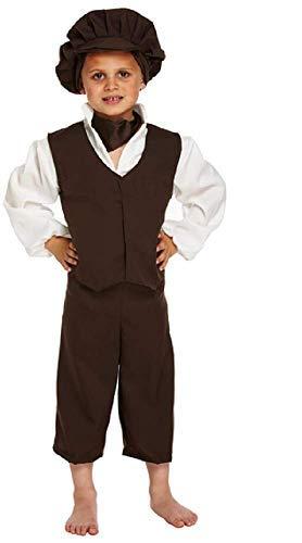 Jungen Bauern Für Kostüm - Fancy Me 5 Stück Jungen Oliver Twist Schlecht Viktorianischer Bengel Bauer Büchertag Kostüm Kleid Outfit 4-12 Jahre - Schwarz, 10-12 Years