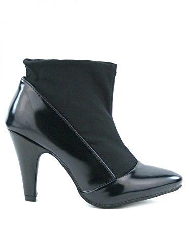 Cendriyon, Bottine Noire Bi matière GLORY Chaussures Femme Noir