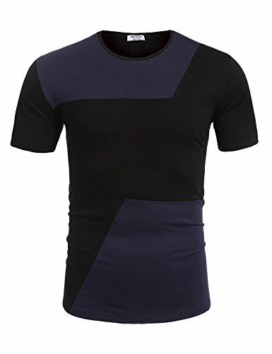 HOTOUCH Herren Basic T-Shirt Kontrast Casual T-Shirt Mit Patchwork Kurzarm Typ1_Schwarz