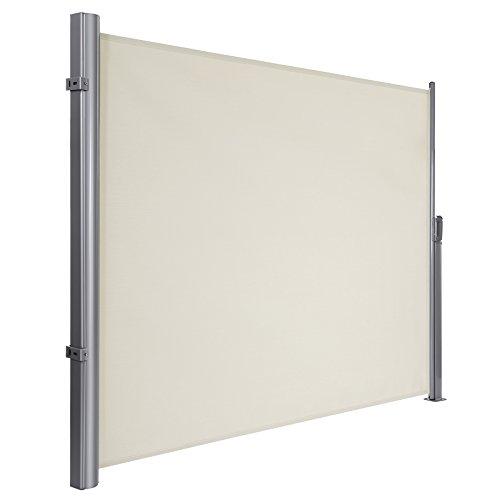 SONGMICS 180 x 300 cm (H x L), Seitenmarkise für Balkon und Terrasse, TÜV SÜD GS zertifiziert, Sichtschutz, Sonnenschutz, Seitenrollo, beige, GSA180E