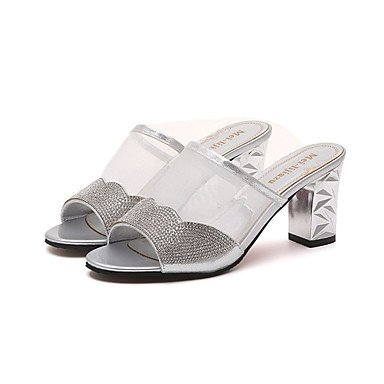 Les femme's Chaussons &AMP ; Tong PU talon bloc robe d'Or Argent 2in-2 3/4 US5.5 / EU36 / UK3.5 / CN35